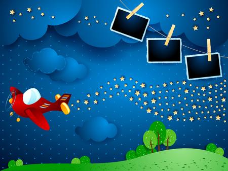 Nuit surréaliste avec avion, vague d'étoiles et cadres photo. Illustration vectorielle eps10