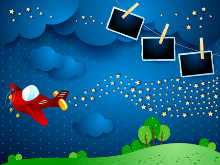 Surreal night with airplane, wave of stars and photo frames. Vector illustration eps10