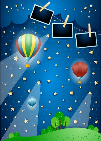 Surreal night with spotlights, balloons and photo frames. Vector illustration eps10