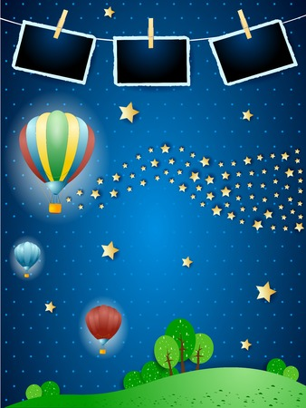 Surreal night with balloons, wave of stars and photo frames. Vector illustration eps10 Illustration