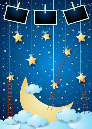Surreal night with big moon, ladders and photo frames. Vector illustration eps10
