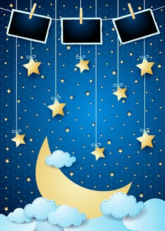 Surreal night with big moon, hanging stars and photo frames. Vector illustration eps10 Stock fotó - 125125983