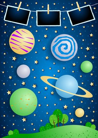 Surreal landscape with big planets and photo frames. Vector illustration eps10