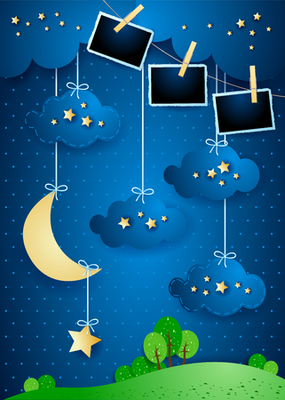 Surreal landscape with crescent moon, hanging stars and photo frames. Vector illustration eps10 Illusztráció