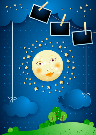 Surreal landscape with full moon, hanging clouds and photo frames. Vector illustration eps10