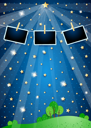 Surreal landscape with star, spotlights and photo frames. Vector illustration eps10