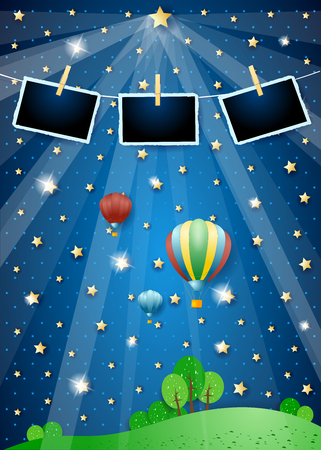 Surreal landscape with spotlights, balloons and photo frames. Vector illustration eps10 Illusztráció