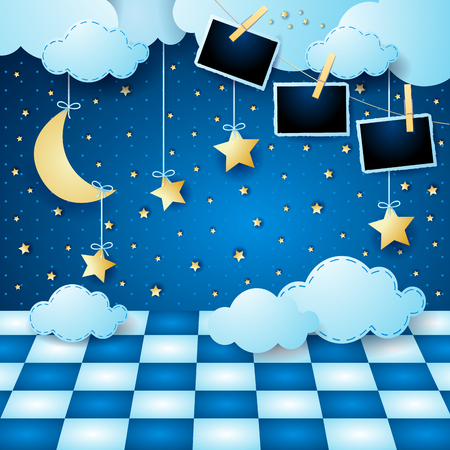 Surreal landscape by night with moon, floor and photo frames. Vector illustration eps10 Illustration