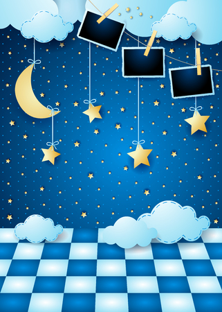 Surreal landscape by night with hanging moon, floor and photo frames. Vector illustration eps10