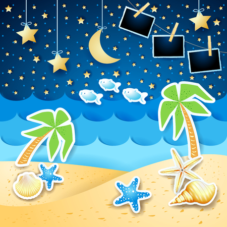 Summer seascape by night with photo frames, vector illustration eps10