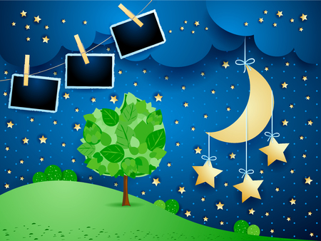 Surreal landscape by night with hanging stars and photo frames. Vector illustration eps10 向量圖像