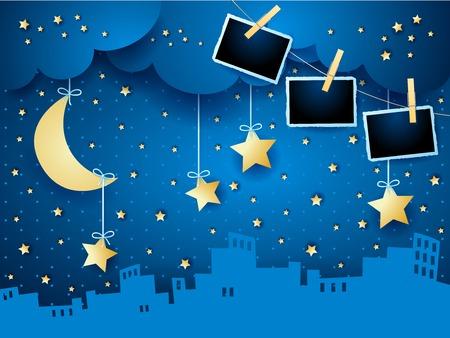 Notte surreale con luna, skyline e cornici per foto. Illustrazione vettoriale eps10 Vettoriali