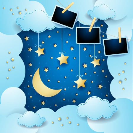 Surreal cloudscape with hanging stars and photo frames. Vector illustration eps10 Illusztráció