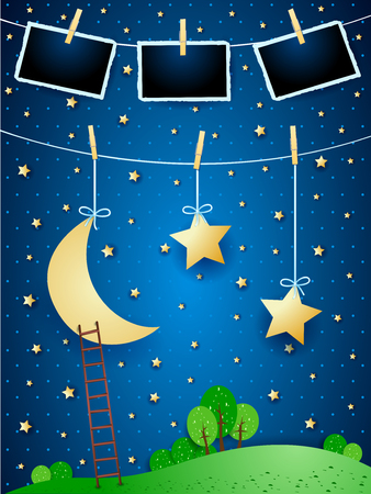 Surreal night with hanging moon, stars and photo frames. Vector illustration eps10