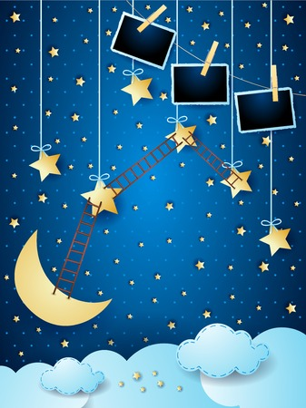 Surreal night with hanging stars, ladders and photo frames. Vector illustration eps10