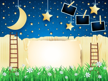 Surreal landscape with ladders, hanging moon and photo frames. Vector illustration eps10