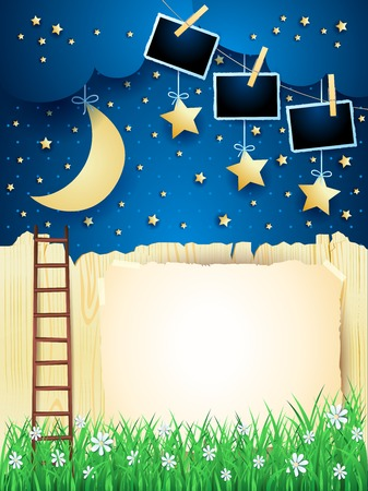 Surreal landscape with starway, moon and photo frames. Vector illustration eps10