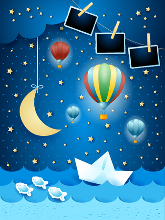 Surreal seascape by night with photo frames, paper art. Vector illustration eps10