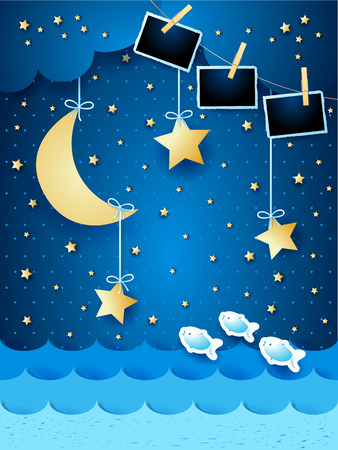 Surreal seascape with hanging stars and photo frames, paper art. Vector illustration eps10