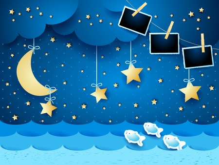 Surreal seascape by night with hanging stars and photo frames. Vector illustration eps10 Illusztráció