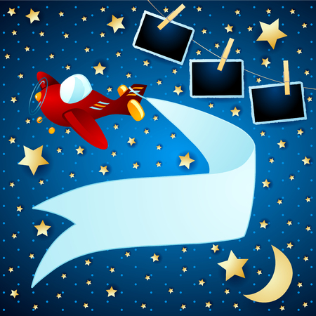 Night landscape with airplane, banner and photo frames. Vector illustration eps10
