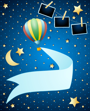 Night landscape with balloon, banner and photo frames. Vector illustration eps10