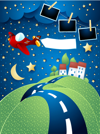 Night landscape with airplane, hilly road and photo frames. Vector illustration eps10