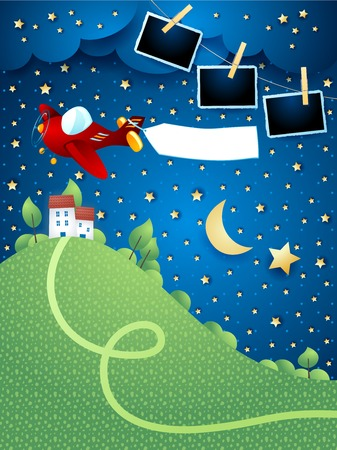 Night landscape with airplane, banner, hill and photo frames. Vector illustration eps10