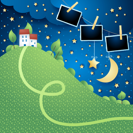 Night landscape with hill, village and photo frames. Vector illustration eps10  イラスト・ベクター素材