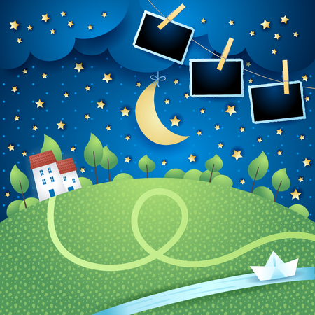 Night landscape with river and photo frames, vector illustration eps10