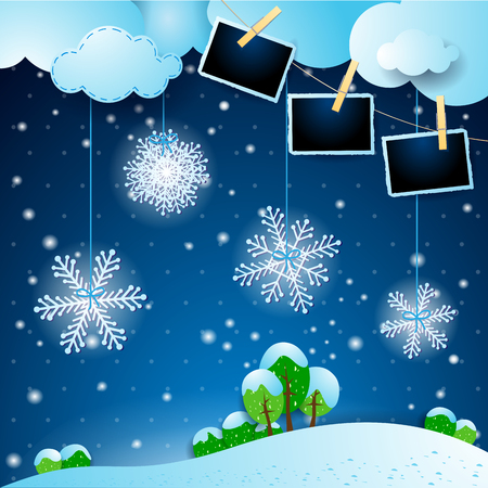 Winter landscape with snowflakes and photo frames. Vector illustration eps10 写真素材 - 125126015