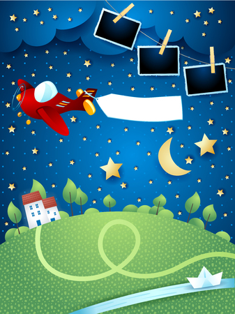 Night landscape with airplane, banner, river and photo frames. Vector illustration eps10  イラスト・ベクター素材