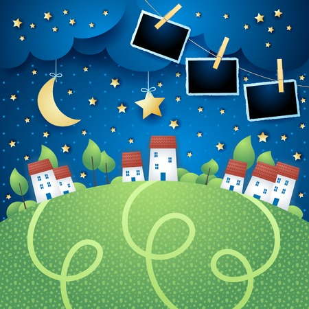 Surreal landscape with village and photo frames, vector illustration eps10  イラスト・ベクター素材