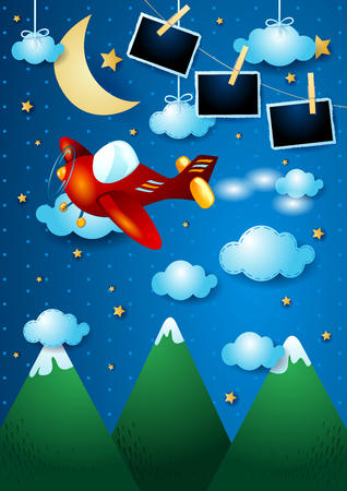Night landscape with mountains, airplane and photo frames, vector illustration eps10