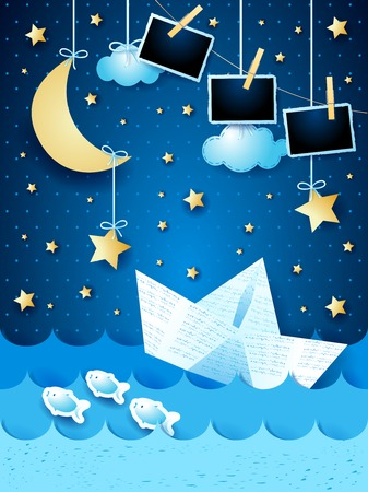 Surreal seascape with paper boat and photo frames, by night. Vector illustration eps10