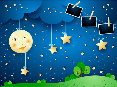 Night landscape with full moon and photo frames. Vector illustration
