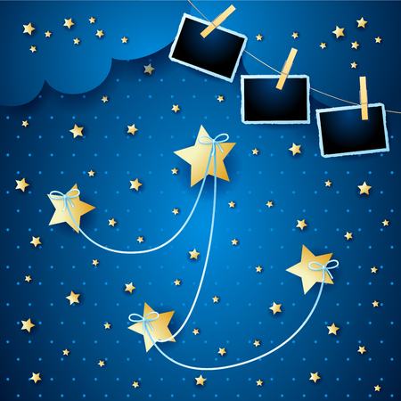 Night landscape with hanging stars and photo frames. Vector illustration eps10