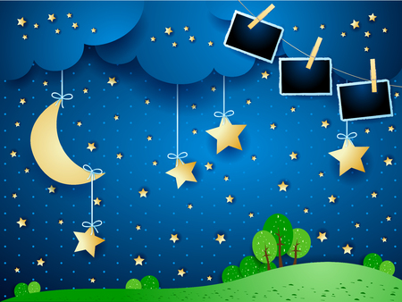 Night landscape with hanging moon and photo frames. Vector illustration  イラスト・ベクター素材