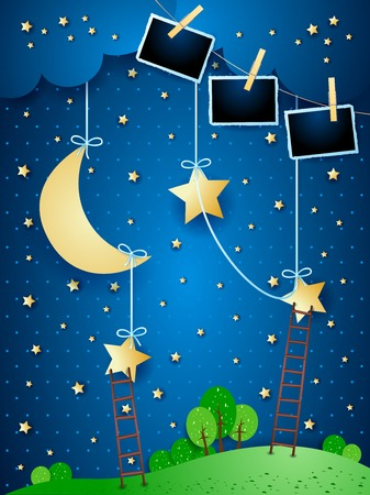Surreal night with hanging moon, stairways and photo frames. Vector illustration eps10