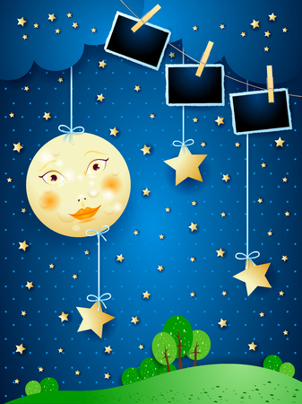Surreal night with full moon, hanging stars and photo frames. Vector illustration  イラスト・ベクター素材