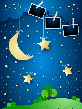 Surreal night with hanging moon and photo frames. Vector illustration
