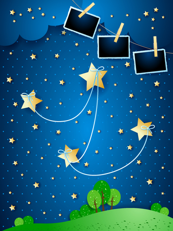 Surreal night with hanging stars and photo frames, vector illustration eps10