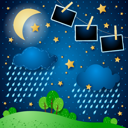 Surreal night with rain and photo frames, vector illustration eps10