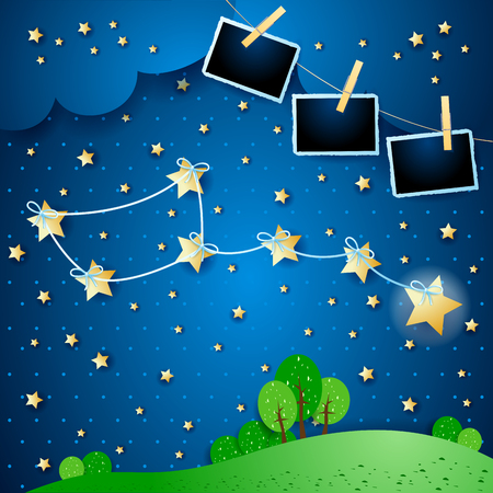 Surreal night with constellation and photo frames, vector illustration eps10