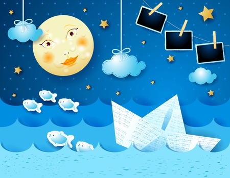 Surreal seascape with full moon, paper boat and photo frames. Vector illustration eps10
