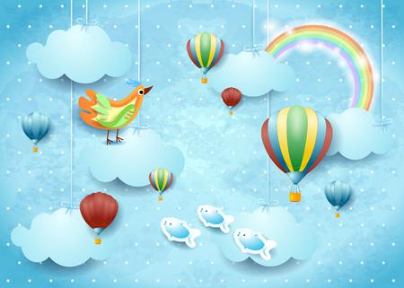 Cloudscape surrealista con globos, pájaros y peces voladores, ilustración vectorial