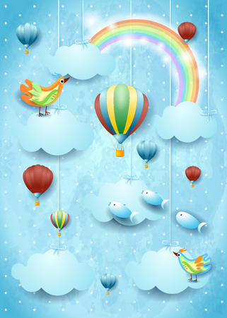 Surreal cloudscape with hot air balloons, birds and flying fishes. Vector illustration