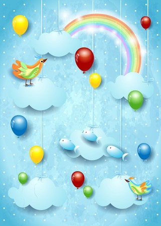 Surreal cloudscape with balloons, birds and flying fisches. Vector illustration eps10