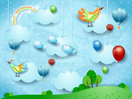Surreal landscape with balloons, hot air balloons, birds and flying fishes. Vector illustration Illustration