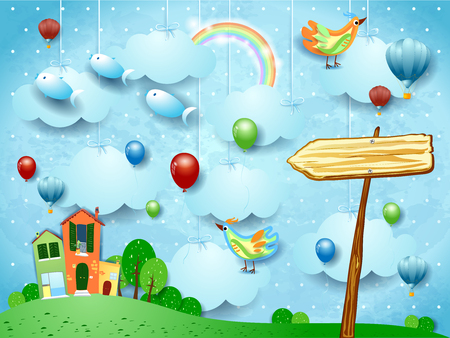 Fantasy landscape with town, arrow sign, birds and flying fisches. Vector illustration eps10  イラスト・ベクター素材